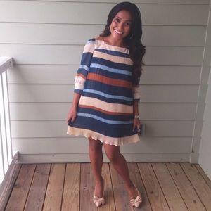 Chiffon Pleated Striped Mini Dress XS/Small